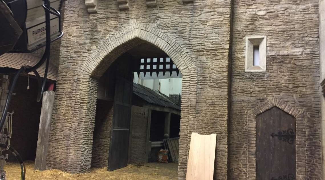 Film set - Caerphilly castle 2014